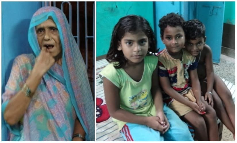 Yamuna Devi (L), and her grandchildren. Images courtesy the writer