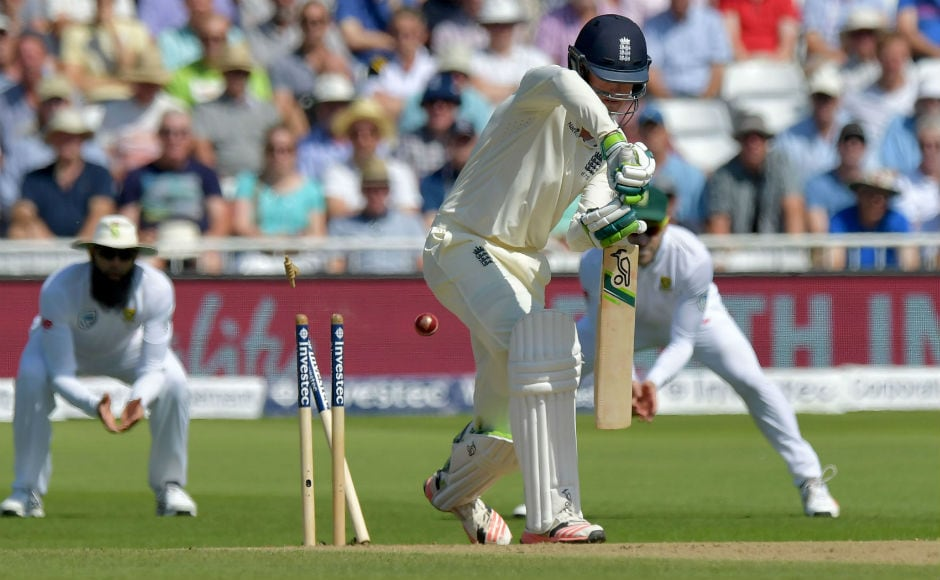 England's Keaton Jennings is bowled by South Africa's Vernon Philander. Jennings could score only 0 and 3 in two innings of this Test, and would want to forget this match in a hurry. AFP