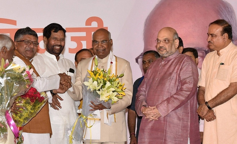 Ram Nath Kovind being congratulated by Amit Shah and Union ministers Ananth Kumar, Ramvilas Paswan, and Ravishankar Prasad. PTI