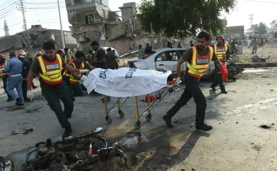 A suicide blast near residence-cum-office of Punjab chief minister Shahbaz Sharif in Pakistan's Lahore city on Monday killed at least 20 people, including policemen, and wounded 30 others. AFP