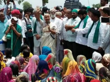 Medha Patkar at the Kisan Mukti rally in Mandsaur on Thursday. Twitter/@_SwarajIndia