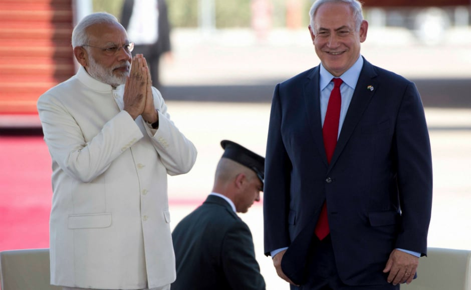 Prime Minister Narendra Modi joins his hands as a mark of respect for Israeli prime minister Benjamin Netanyahu. AP