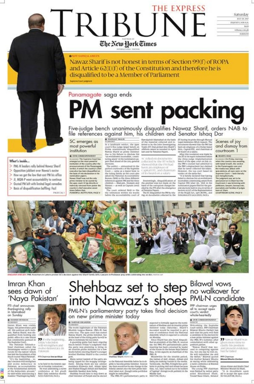 Panama Papers verdict: How Pakistani newspapers covered Nawaz Sharifs disqualification as PM