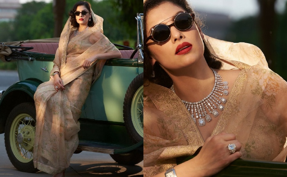 Sabyasachi Mukherjee debuted his new six part collection on Instagram. Ranisahiba's Diamonds is a collection of Golconda diamonds and sarees inspired from his time in Kolkata. Sabyasachi also mentioned how the red lips and shades were his homage to Coco Chanel. Image via Sabyasachi Mukherjee/Instagram.