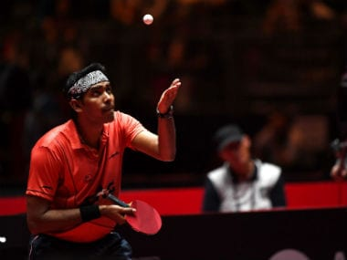 Sharath Kamal in action during his third round men´s singles match during the WTTC World Table Tennis Championships in Duesseldorf. AFP