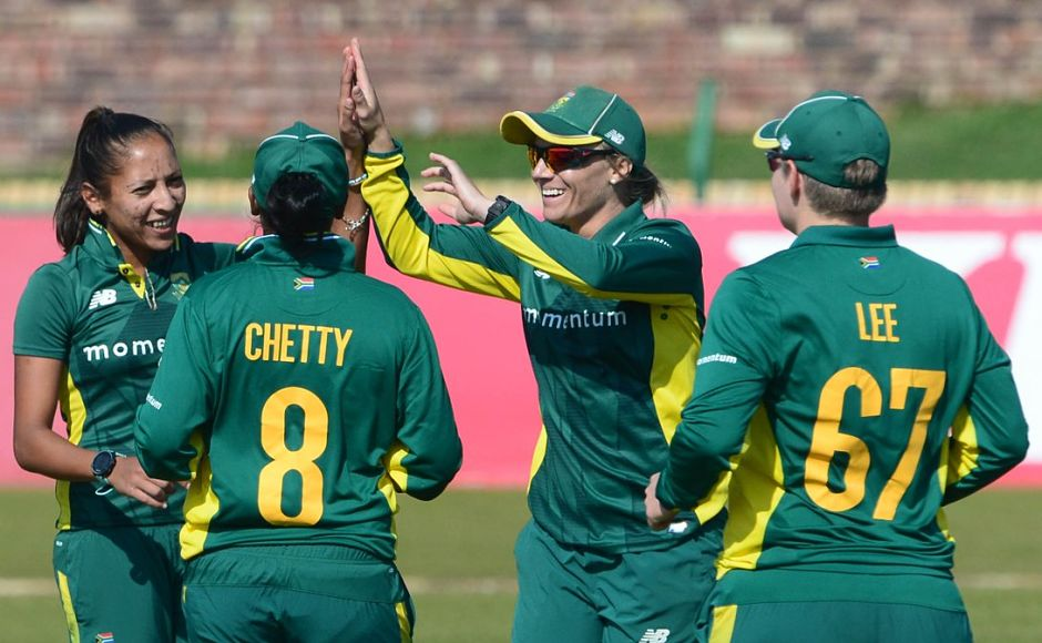 South Africa hammered India by 115 runs to break Mithali Raj and Co's winning streak. Image courtesy: Twitter/@OfficialCSA