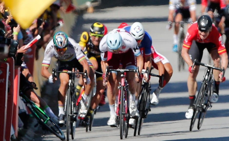 Peter Sagan speeds past leaving Mark Cavendish on the ground. AP