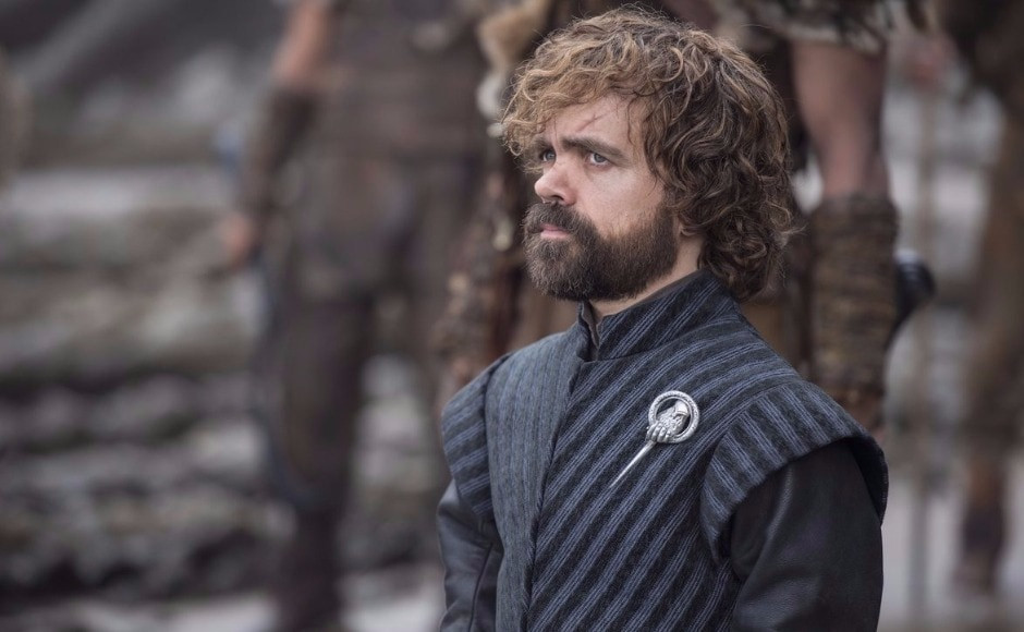 Tyrion waits to greet them at the landing. He of course, hasn't passed on Dany's message about 'bending the knee' to Jon — so some conflict could arise there. Image via HBO