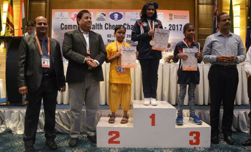 Sahithi standing at the number one position at the Commonwealth Championships 2017.