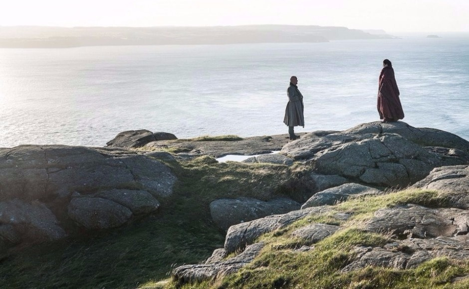 Meanwhile, Varys and Melisandre are having their own little meeting in a secluded corner of Dragonstone. Image via HBO