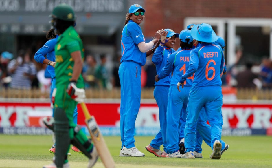 Ekta Bisht celebrates taking the wicket of Pakistan's Iram Javed with teammates. Bisht was in tremendous form against Pakistan, taking 5/18 and fashioning India's 95-run victory. Reuters