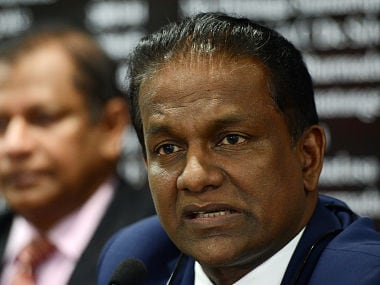 Sri Lanka Cricket President, Thilanga Sumathipala speaks during a press conference in Colombo on July 6, 2016. Sri Lanka's cricket board said it will seek compensation from the World Anti-Doping Agency (WADA) over the wrongful suspension of wicket keeper Kusal Perera. Perera was suspended during Sri Lanka's tour of New Zealand last December after WADA said he had tested positive for a banned substance, a finding the laboratory later revised. / AFP PHOTO / LAKRUWAN WANNIARACHCHI