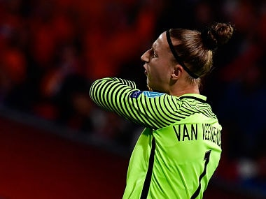 Netherlands' goalkeeper Sari van Veenendaal reacts during the UEFA Women's Euro 2017 football match between Belgium and the Netherlands at Stadium Koning Wilhelm II in Tilburg on July 24, 2017. / AFP PHOTO / TOBIAS SCHWARZ