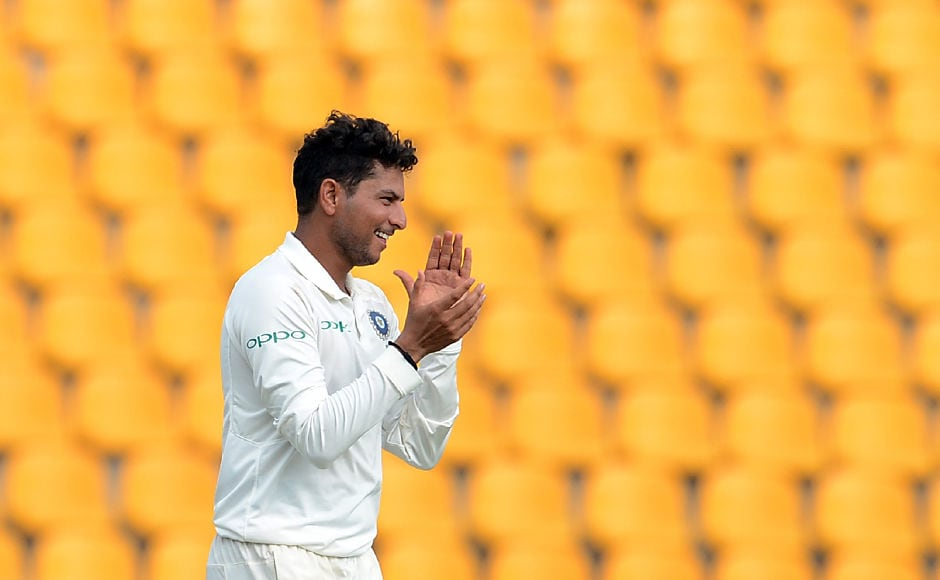 India's chinaman, Kuldeep Yadav, finished with 4 wickets in the first innings as he created a lot of problems for the Lankan batsmen. AFP