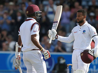 West Indies' Shai Hope (R) and Kraigg Brathwaite slammed centuries to get West Indies in ascendancy in 2nd Test. AFP