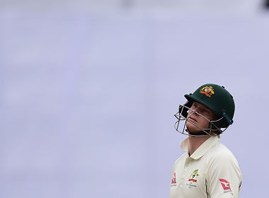 Steven Smith leaves off the field after being bowled by Mehidi Hasan during the first Test. AFP