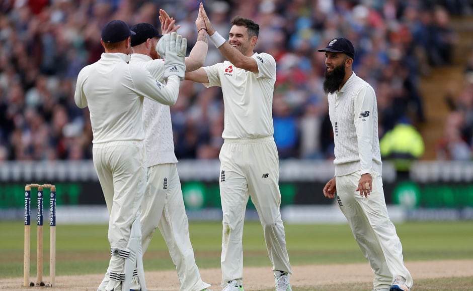 The veteran James Anderson broke the opening stand in the second innings by taking the wicket of Kieran Powell. Reuters