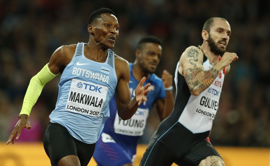 After missing the 400m final due to two days of quarantine, Botswana's Isaac Makwala (L) was allowed to run on his own on Wednesday to qualify for the 200m semifinals. He did it, and then ran again a few hours later to reach Thursday'sfinal. He finished sixth. AP