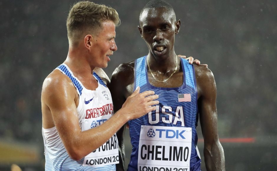 Olympic silver medalist Paul Chelimo took a tumble with four laps to go but recovered and qualified for Saturday's final in the 5,000 metres at the world championships. AP