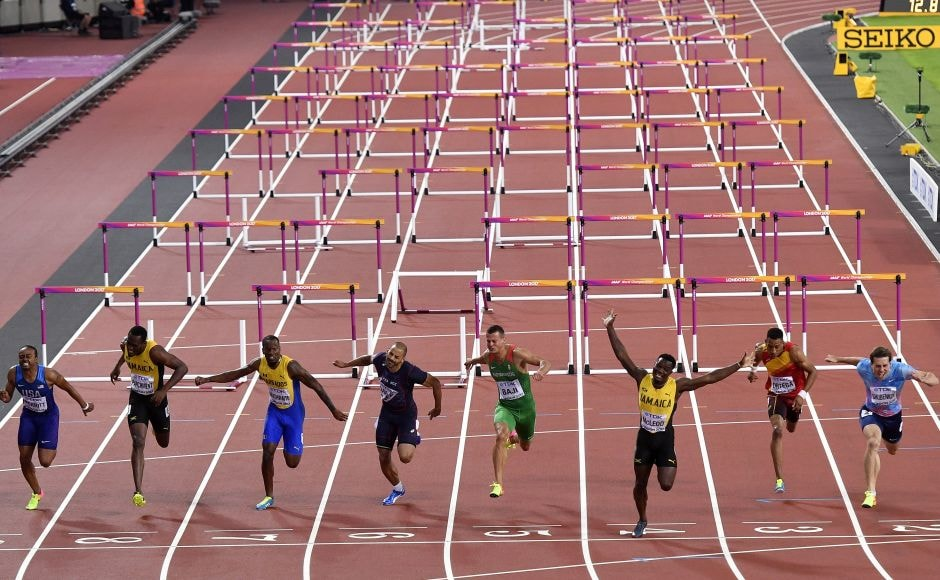 Omar McLeod ran a near clean race over the hurdles and even had to time to stretch out his arms as he raced across the line in 13.04 seconds, .10 seconds ahead of Shubenkov. AP