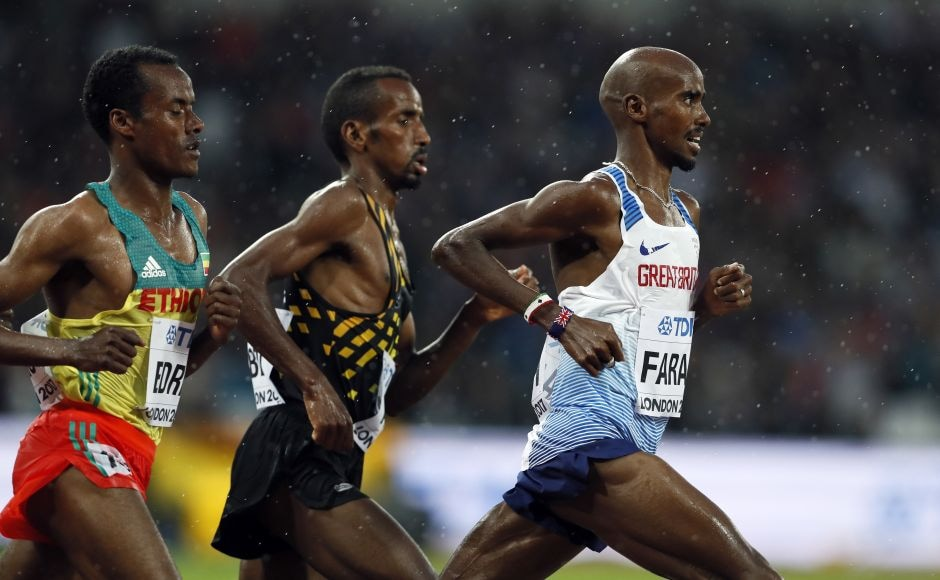 Britain's Mo Farah was back at the Olympic Stadium and got the sellout crowd roaring for his heat in the 5,000 metres. AP