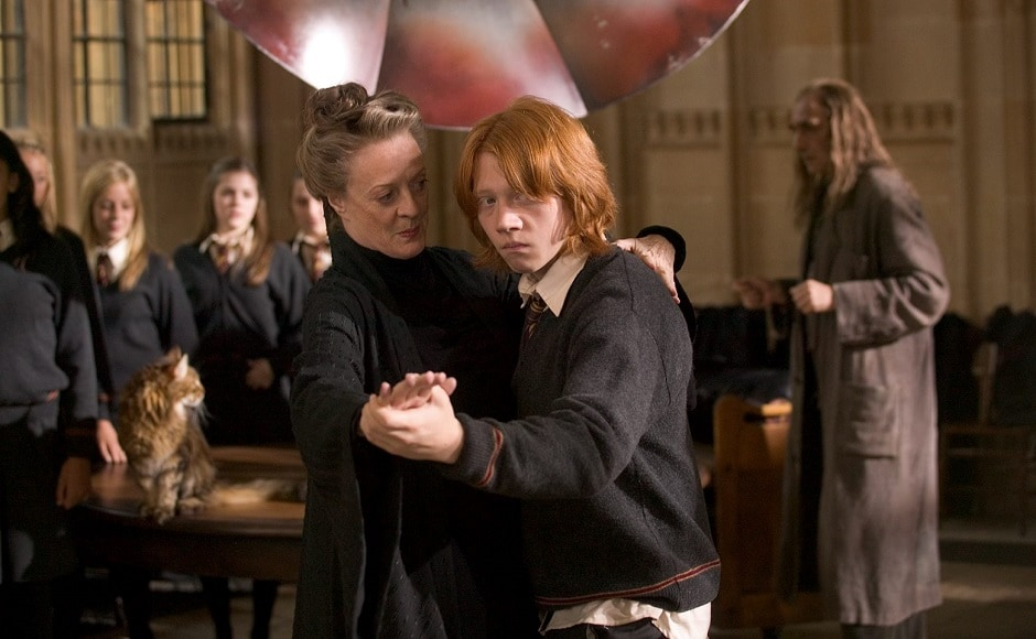 In an iconic scene from Harry Potter and the Goblet of Fire, Maggie Smith's character Professor McGonagall had to teach Ron Weasley to dance. Poor Rupert! I mean, I've got two left feet too, so we both looked pretty silly!