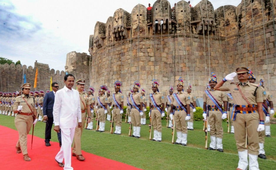Telangana chief minister K Chandrasekhar Rao reviewed the parade during the Independence Day celebrations in Hyderabad. After unfurling the national flag, Rao said he will work towards providing more jobs in the state. PTI