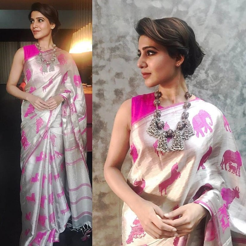 Samantha Ruth Prabhu in a hadloom saree. Image from Facebook