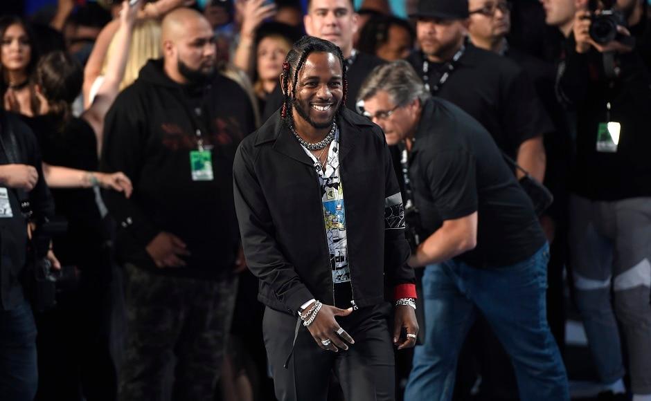 Kendrick Lamar arrives at the MTV Video Music Awards. Photo by AP