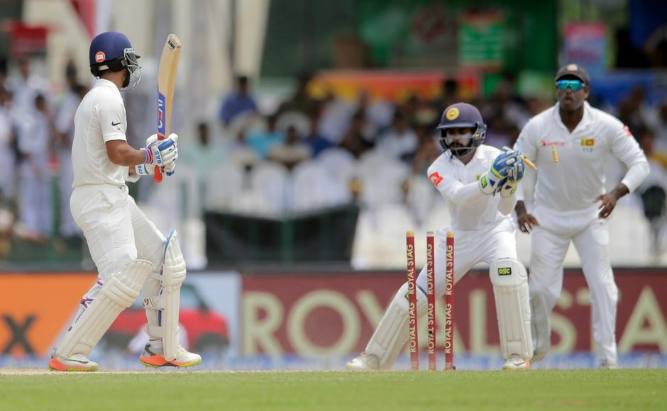 Rahane was beaten in the air by Malinda Pushpakumara as he charged down the ground. Wicket-keeper Niroshan Dickwella dislodged the bails to complete the stumping. Rahane was dismissed for 132. AP