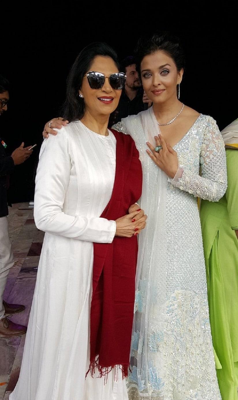 Aishwarya Rai and Simi Garewal during the flag hoisting ceremony.