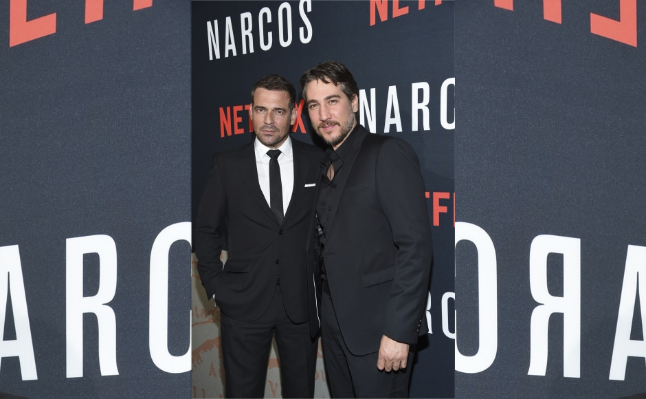 The series stars Damian Alcazar (Gilberto), Francisco Denis (Miguel), Alberto Ammann (Pacho) and Pepe Rapazote (Chepe) as the Cali cartel masterminds. Image from AP.