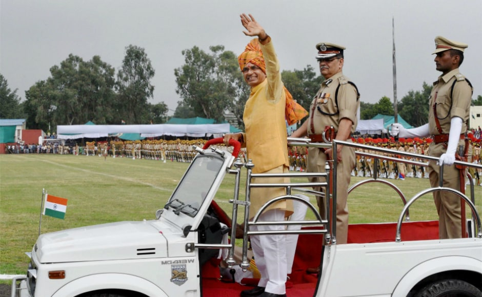 Madhya Pradesh chief minister Shivraj Singh Chauhan inspected the parade during Independence Day celebrations at Motilal Nehru Stadium in Bhopal. In his address to the gathering, he stressed for eliminating corruption and poverty from the state. PTI
