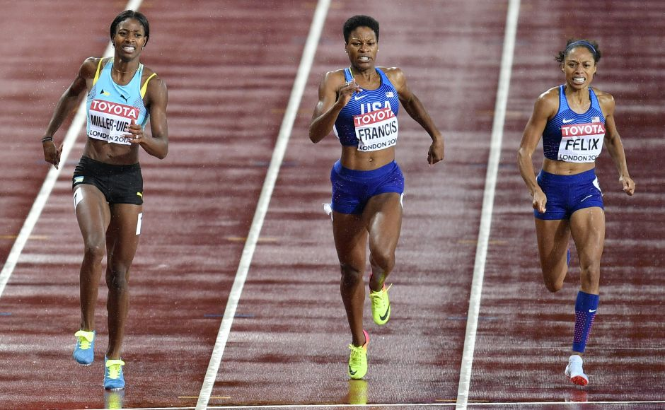 American Phyllis Francis (centre) leads the field to win the women's 400 metres final. Francis upset favourites, Olympic champion Shaunae Miller-Uibo (L) of Bahamas and compatriot Allyson Felix (R) to win the title at IAAFWorld Championships in London. AP