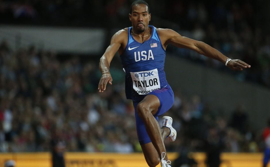 In another thrilling duel among the Americans, two-time Olympic champion Christian Taylor edged Will Claye in the triple jump at the world championships. AP