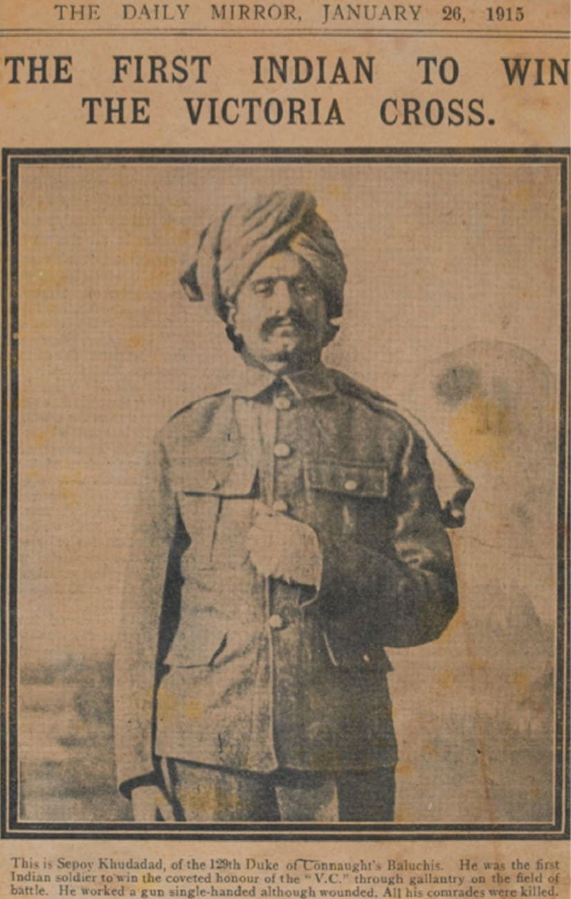 A newspaper clipping from the 26 January 1915 issue of the Daily Mirror showing Khudadad Khan receiving the Victoria Cross. Photo credit: National Army Museum