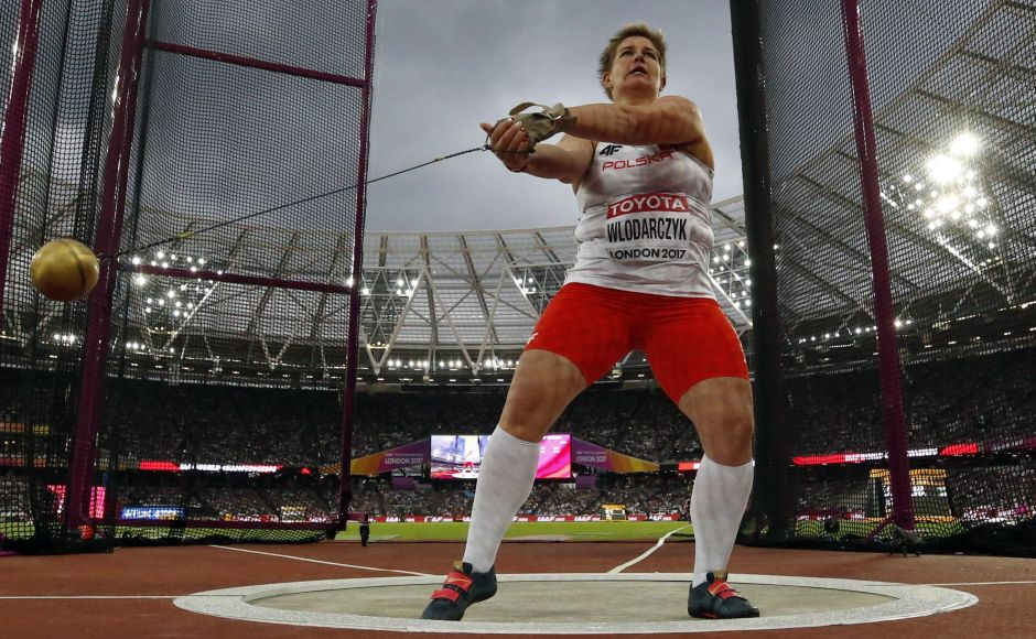 Anita Wlodarczyk, the dominating figure over the past half-decade with two Olympic titles, took the lead on her fourth of six attempts and then had her gold-medal throw of 77.90 meters on her penultimate attempt. AP