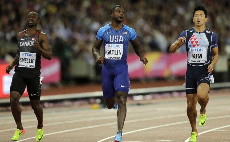 Justin Gatlin, widely booed by the crowd for his past doping conviction, is the biggest threat to Bolt. He won his heat in 10.05. AP