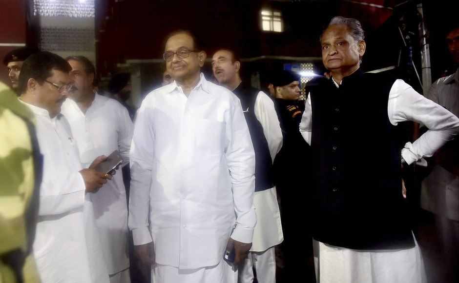 Congress leaders P Chidambaram, Ashok Gehlot, Ghulam Nabi Azad coming out of the Election Commission of India, in New Delhi on Tuesday. PTI
