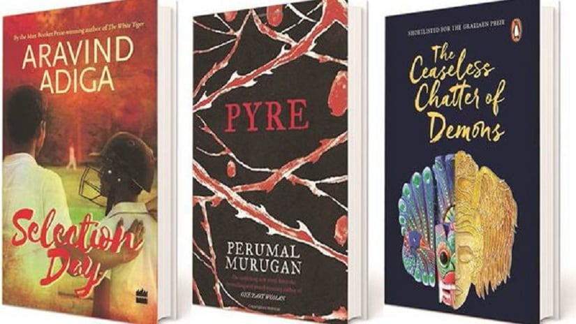 Selection day by Arvind Adiga, Pyre by Perumal Murugan and The Ceaseless Chatter of Demons by Ashok Ferrey are part of the long list of DSC Prize this year. Image via Twitter