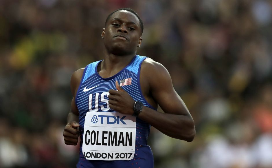 Christian Coleman, the fastest man of the season so far, easily won the first heat in 10.01. AP