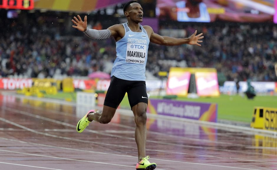 Needing to run 20.53 seconds or faster to advance, Isaac Makwala braved the rain and cold at the Olympic Stadium and finished in 20.20. AP