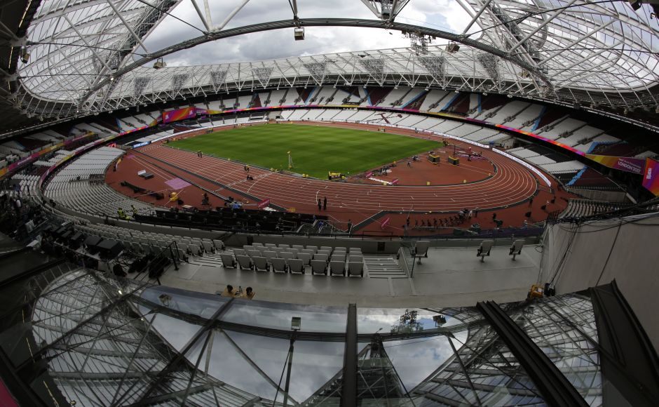 The Olympic Stadium in London gets ready for Day 3 of the IAAF World Athletic Championships. AP