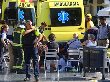 Injured people being treated in Barcelona. AP