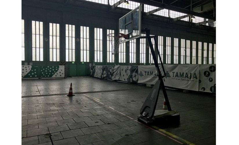 One hangar has sporting facilities to keep refugees active