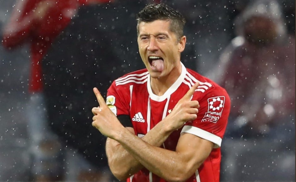Marksman Robert Lewandowski's VAR approved penalty put the tie to bedas he scored the third goal.Image Courtesy: Twitter @FCBayern