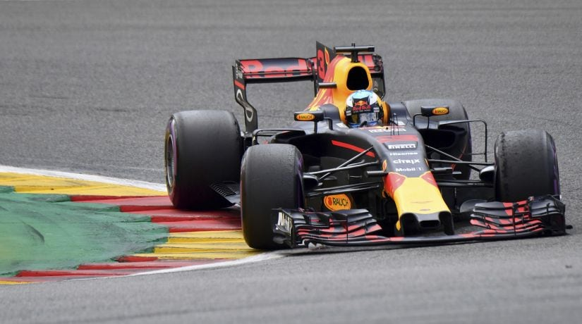 Red Bull driver Daniel Ricciardo steers his car during the Belgian Grand Prix. AP