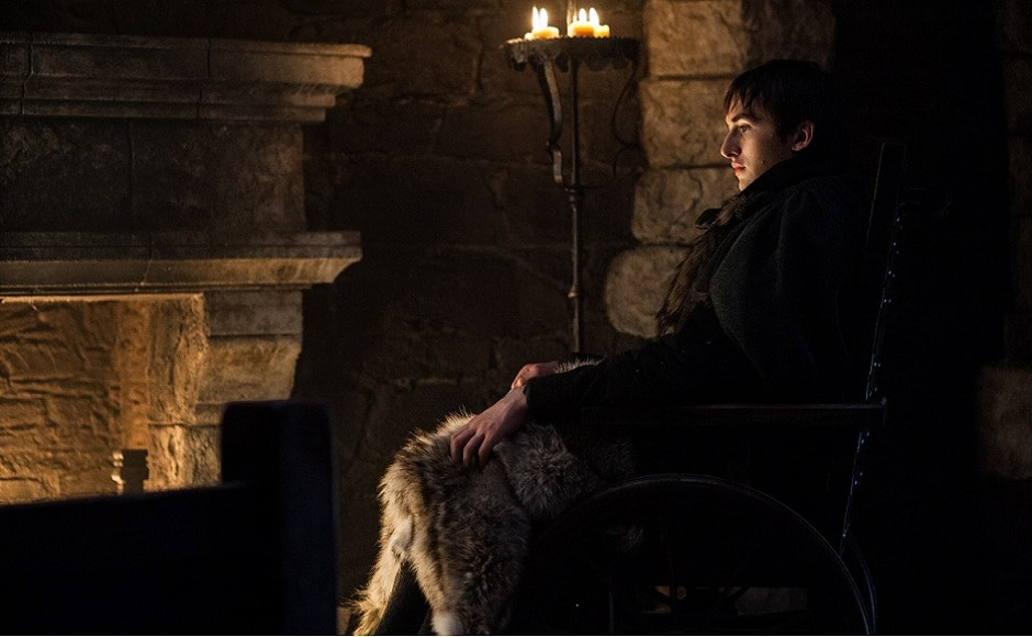 While a lot is happening at King's Landing, situations up in the North look grim. Bran is seen sitting by the fire and thinking deeply. Has he seen the Night King along with the resurrected blue-eyed, Viserion in his visions? Image via HBO.