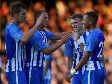 Soccer Football - Southend United vs Brighton & Hove Albion - Pre Season Friendly - Southend, Britain - July 25, 2017 Brighton's Solly March celebrates scoring their second goal Action Images via Reuters/Adam Holt - RTX3CVQK