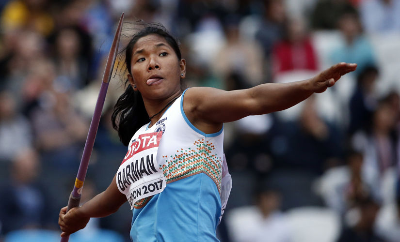 Swapna Barman makes an attempt in the javelin throw of the heptathlon during the World Athletics Championships in London. AP